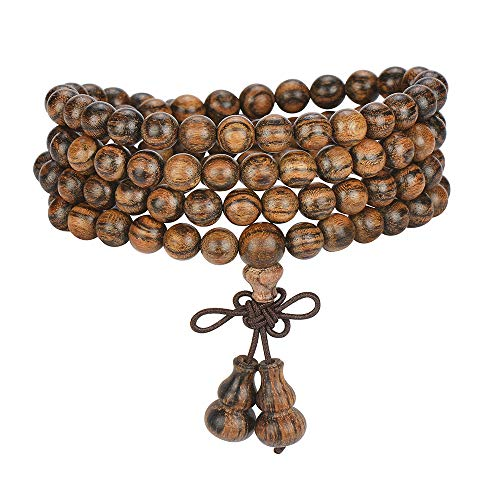 anzhongli JIIUZUO Mala Beads Bracelet Necklace for Men Women 108 6mm Natural Wood Beads Elastic Cord (Gourd-Tiger Wood) (Best Cord For Mala Beads)