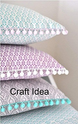 "YCRAFT One Roll 18 Yards Ball Fringe 7/8"" Wide Pom Pom Trim Ribbon Sewing-Grey"