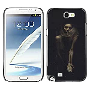 Paccase / SLIM PC / Aliminium Casa Carcasa Funda Case Cover - Halloween Woman Vignette Retro - Samsung Note 2 N7100