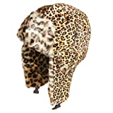 Accessoryo Women's Leopard Print Style Trapper Hat with Faux Fur trimming and ear lining 59cm Yellow