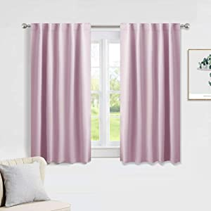 PONY DANCE Kitchen Curtains Short - Thermal Insulated Window Covering Curtain Panels with Rod Pocket/Back Tab Light Block Privacy Protect for Bathroom, Wide 42 by Long 45 Inches, Light Pink, 2 Pieces