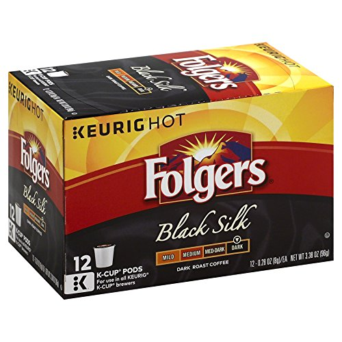 Folgers Black Silk Coffee K Cup Pods for Keurig Brewers, 12 Count