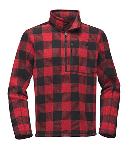 The North Face Red Fleece (The North Face Men's Novelty Gordon Lyons 1/4 Zip - Cardinal Red Grizzly Print - M (Past Season))