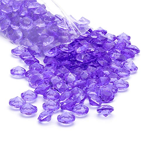 Acrylic Diamonds Gems Crystal Rocks for Vase Fillers, Party Table Scatter, Wedding, Photography, Party Decoration, Crafts by Royal Imports, 1 LB (Approx 140-160 gems) - Purple