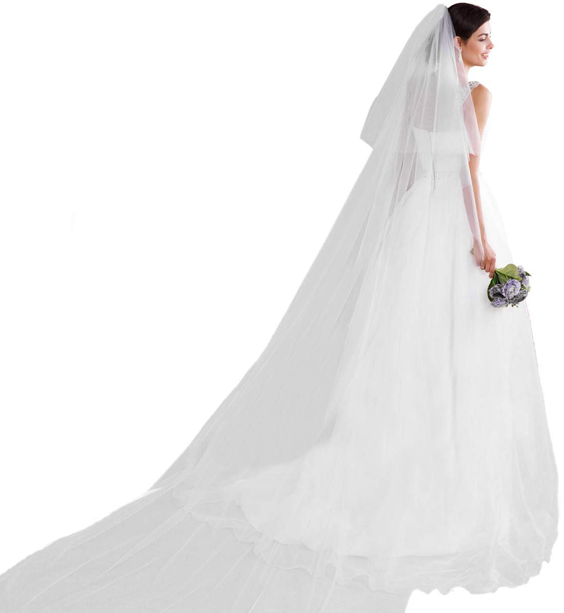 Barogirl Cathedral Wedding Veil Ivory Bridal Veil with Comb (118.11 inches, 2 Tiers Veil, White)