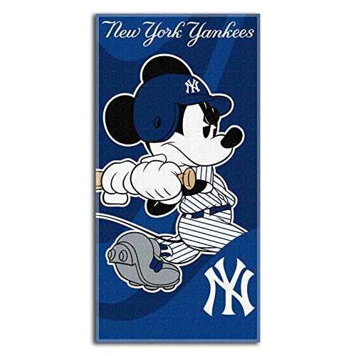"Officially Licensed MLB New York Yankees and Mickey Mouse Cobranded Windup Beach Towel, 28"" x 58"""