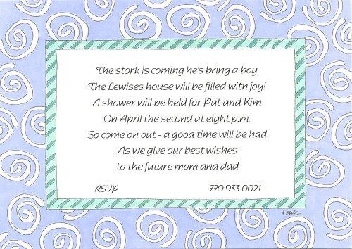 Blue Swirls Printable Party Invitation
