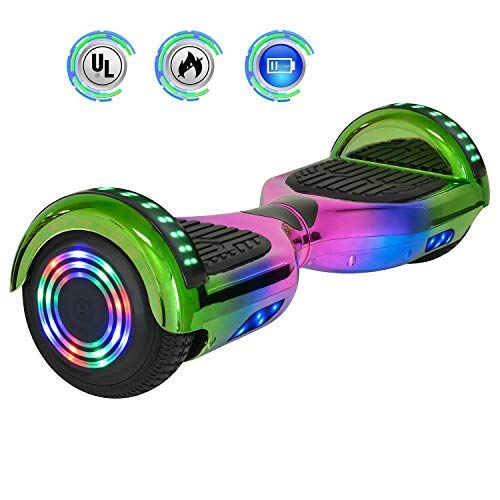 NHT 6.5' inch Aurora Hoverboard Self Balancing Scooter with Colorful LED Wheels and Lights - UL2272 Certified Carbon Fiber/Spider/Built-in Bluetooth Speaker Available on Select Models