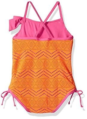 Pink Platinum Girls' Crochet Overlay One Piece Swimsuit