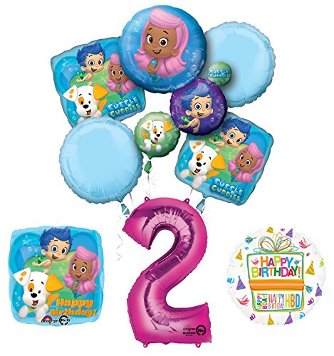 Bubble Guppies 2nd Birthday Party Supplies and Balloon Bouquet Decorations -