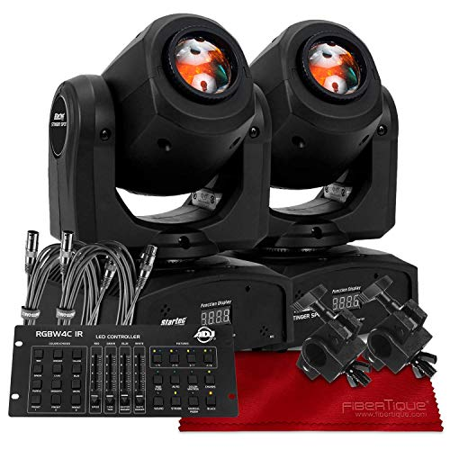 American DJ Stinger Spot, Startec Series Mini LED Moving Head Light, Black (2-Pack) with ADJ 32-Channel DMX Controller Deluxe Bundle