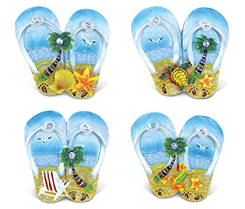 Puzzled Flip Flops Refrigerator Silver Beach Magnet - Beach Theme - Set of 4 - Unique Affordable Gift and Souvenir - Item #7693