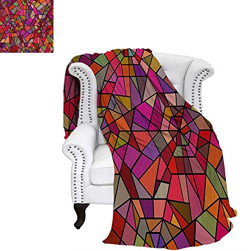 (warmfamily Abstract Summer Quilt Comforter Mosaic Style Stained Glass Fractal Colorful Geometric Triangle Forms Artful Image Digital Printing Blanket 70