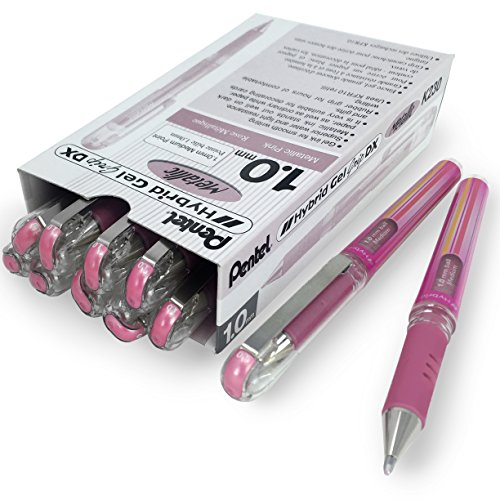 (Pentel Hybrid Gel Grip Metallic Pen - 1.0mm Rollerball - Metallic Pink - Box of 12 - K230)