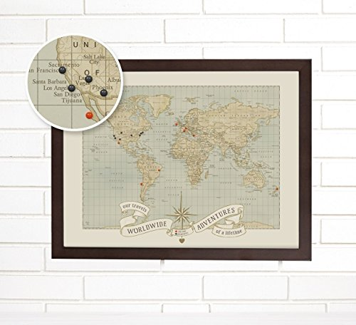 World Push Pin Travel Map Art, Dreams and Memories by ImagineNations by Wendy Gold
