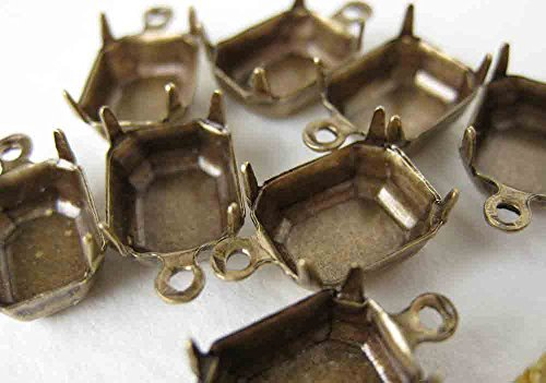 Pronged Setting Antiqued Brass Rhinestone Octagon Closed Back 1 Ring Vintage Style (Octagon Pronged Settings)