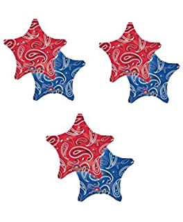 3 THREE 18 Foil BALLOON Party BANDANA PRINT Western COWBOY Hoedown FAVORS Red Blue