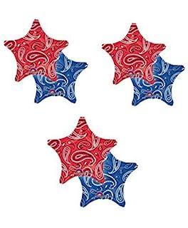 3 THREE 18 Foil BALLOON Party BANDANA PRINT Western COWBOY Hoedown FAVORS Red Blue