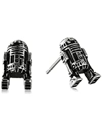 Star Wars Jewelry Unisex R2-D2 Stainless Steel 3D Cast Stud Earrings