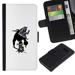 LECELL--Cuero de la tarjeta la carpeta del tirón Smartphone Slots Protección Holder For Samsung Galaxy S6 -- Goth bebé --
