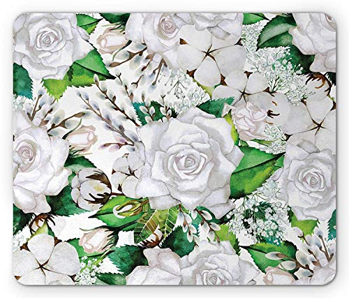 Rose Mouse Pad, Watercolor Artsy Design of Roses Meaning New Beginning or Farewell Innocence Symbol, Standard Size Rectangle Non-Slip Rubber Mousepad, White Green,8.66 x 7.08 x 0.118 Inches]()