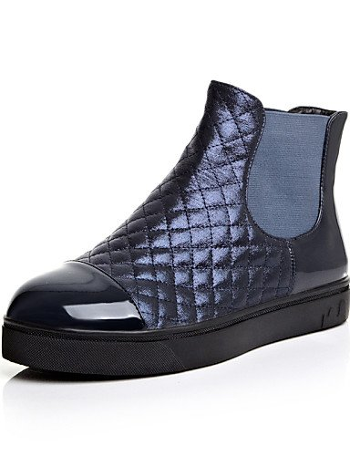 Casual Vestido negro Botines Mujer us6 Botas Eu36 Plataforma Eu3 Blue Uk4 Zapatos Cn39 Cuero La Cn36 A Redonda Dark Semicuero De Uk6 Eu39 Punta Blue Moda Xzz us8 Patentado Iwx7EPaq