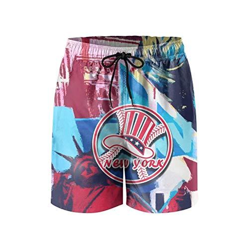 York Stripe Yankees - dasndopi New_York_Yankees Baseball pop artMen's Beach pantsSwimming TrunksColorful Stripe Beach Pants for Men