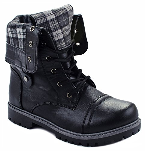 JJF Shoes Kids Girls Dallas12 Foldable Plaid Cuff Mid-Calf Leatherette Lace up Comfy Military Combat Boots