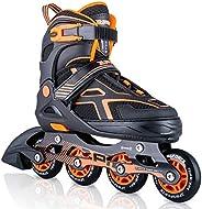 2pm Sports Torinx Orange Black Boys Adjustable Inline Skates, Fun Skates for Kids, Beginner Roller Skates for