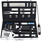 ROMANTICIST 20pcs Barbecue Accessories Set - Stainless Steel BBQ Grilling Utensils with Delicate Aluminum Case for Outdoor Barbecue for Men Dad