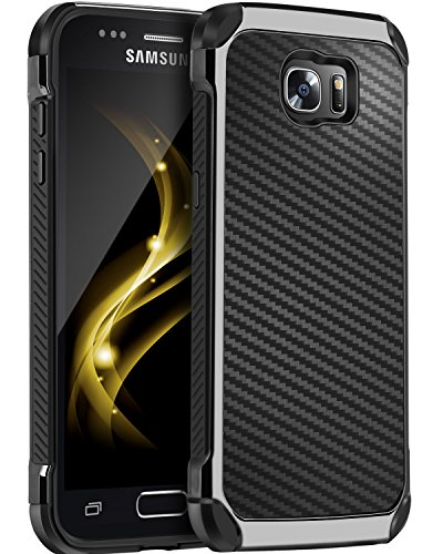Galaxy S7 Case, BENTOBEN 2 in 1 Slim Hybrid Heavy Duty Hard PC and TPU Laminated with Carbon Fiber Texture Chrome Anti-Scratch Shockproof Protective Case for Samsung Galaxy S7 (G930), Black