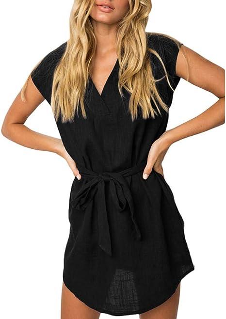 FYERM Vestido Camisa de Mujer Vestido de algodón sólido Escote en V Atado Cintura Cintura Manga Corta Tallas Grandes Casual Dress Loose Irregular, M: Amazon.es: Deportes y aire libre