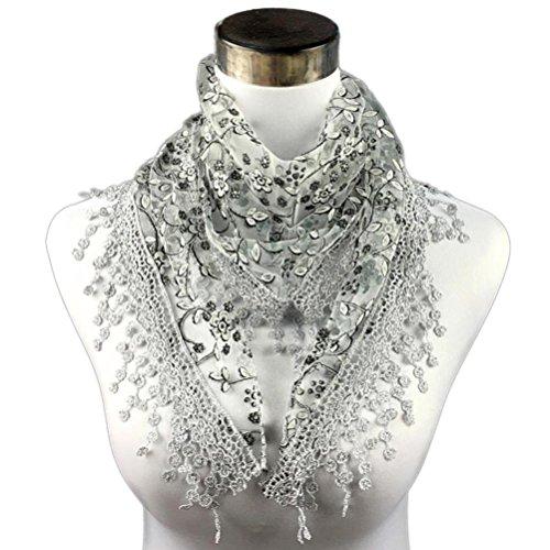 Bolayu Fashion Lace Tassel Sheer Burntout Floral Print Triangle Mantilla Scarf Shawl ()