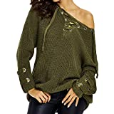 Dainzuy Ladies Sexy Casual Tops,Women Long Sleeve Knitted V Neck Sweater Bandage Blouse
