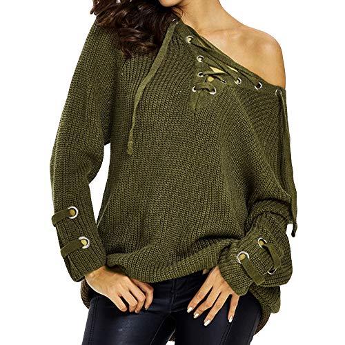 Knited Sweater,Women's Solid Long Sleeve Top V Neck Criss Cross Knitwear by-NEONESUN