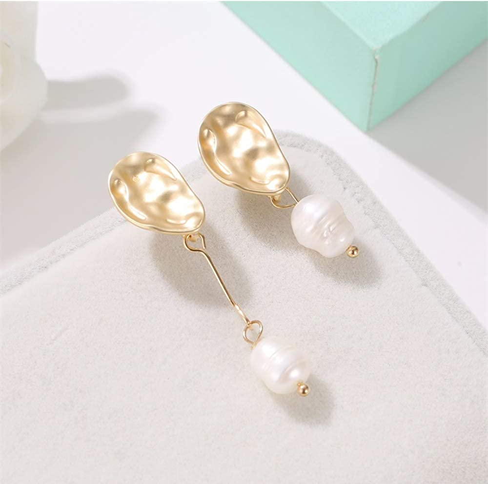 Earring Asymmetry Pearl Earrings Women Trendy Metal Pendant Earring Jewelry Wedding Gift For Femme