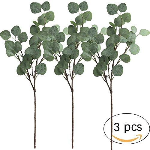 3 Pcs Artificial Silver Dollar Eucalyptus Leaf Spray in Green Artificial Greenery Holiday Greens Christmas (Silver Eucalyptus)
