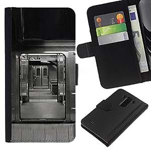 LG G3 / D855 / D850 / D851 Modelo colorido cuero carpeta tirón caso cubierta piel Holster Funda protección - Cart City Rail Black White Life Nyc