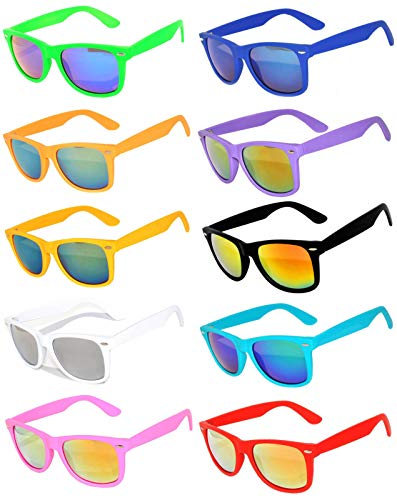 Owl Retro Vintage Sunglasses Colorful Mirror Lens Matte Frame 10 Pairs]()