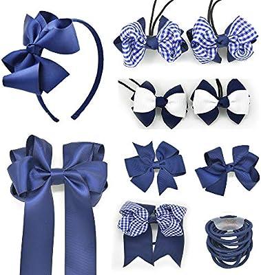 Pair Of Navy Blue Star Hair bow bobbles//hair Accesories//School Uniform