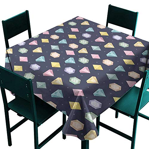 Party Table Cloth Colorful,Graphic Gemstones with Different Shapes Trillion Drop and Marquise Cut Pattern,Multicolor,W36 x L36 Tablecloths