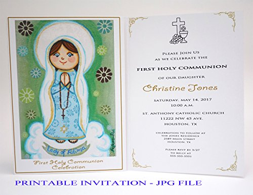 (Girl first communion invitation girl Our Lady of Fatima Virgin Mary Boy first holy communion invitation boy Religious invitation First communion invites First communion invitation printable)