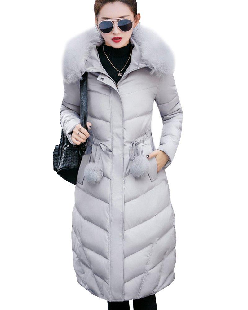 Mujer Parka Casual chaqueta con capucha de piel sintética cálida Gris XS