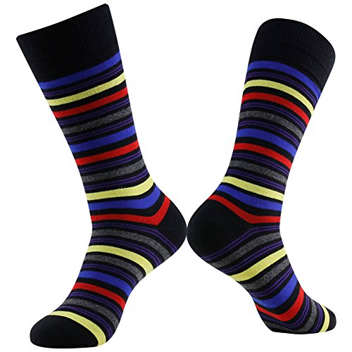 Colorful Cotton Socks, LADUNCIAGA Business Wedding Socks 6 Pack Designed Novelty Happy Funny Crew Colorful Stripe Bridgegroom Groomsmens Socks by LANDUNCIAGA (Image #4)