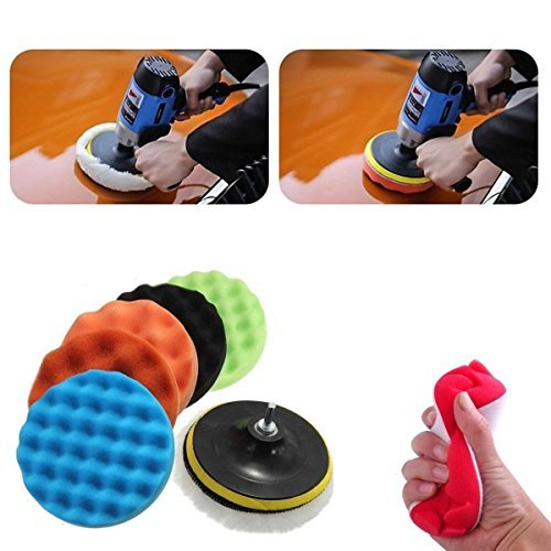 Aochol 7'' Polishing Pads Set, 8pcs Sponge & Woolen Polishing Waxing Buffing Pads Kit for (7' Cloth Pad)