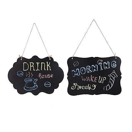 MUXItrade 2 PCS Lavagna da appendere legno lavagnette messaggi Lavagnette  promemoria decorazione per cucina festa di matrimonio by