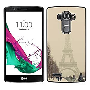 LG G4 / H815 H812 H810 H811 LS991 VS986 US991 Único Patrón Plástico Duro Fundas Cover Cubre Hard Case Cover - Winter Eifel Tower Pastel City Romantic
