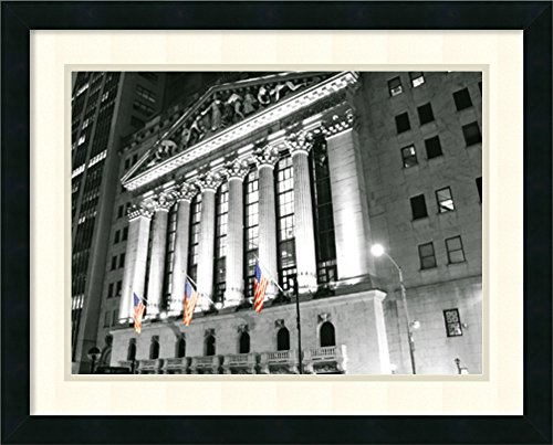 Framed Art Print, New York Stock Exchange at Night' by Phil Maier: Outer Size 23 x (New York Stock Exchange)