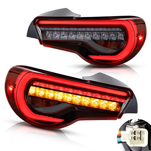 YUANZHENG Tail Lights Assembly Compatible with GT86 2012-2019, BRZ 2013-2018, FRS 2012-2016, Rear Brake Lamps with 3D Full LED Light Bar Sequential Turn Signal YAB-86-0287AH, Pair Red