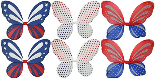 Costume Diy Wings Fairy (Set of 6 Patriotic Fairy Wings! 3 Assorted Styles - Prefect for Dressing)